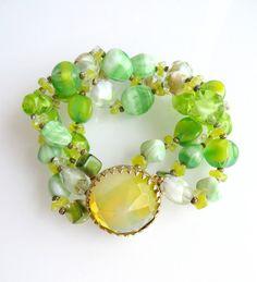 Hattie Carnegie Bead Bracelet Crystal by LeesVintageJewels on Etsy