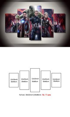 5 Pieces Canvas Painting Avengers 2 Movie Painting Marvel Comics HD Print Painting Decoration Modern Home Wall Art Unframed $28.9
