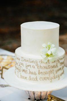 A Wedding Cake with 1st Dance Song Lyrics | Pure 7 Studios | Blog.theknot.com