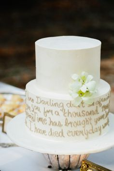A Wedding Cake with 1st Dance Song Lyrics | Pure 7 Studios | Blog.theknot.com