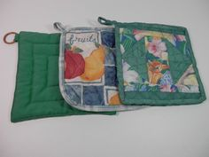 3 Vtg Hand Made Quilted Hot Pot Holders Oven Range Pads Teal Green Navy Blue Fruit Flower Fabric Print Stove Colorful Cookware Assortment Vintage Oven, Teal Green, Navy Blue, Blue Fruits, Retro Kitchen Decor, Gifts For Cooks, Fruit Print, Kitchen Collection, Fabric Squares
