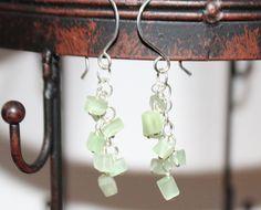 Sterling Silver Catseye Glass Dangle Cluster Earrings by Beazora