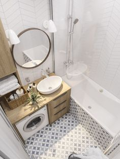 34 Awesome Small Bathroom Design Ideas For Apartment - It seems that one of the bathroom design trends is to make the bathroom larger. A spacious bathroom shows your preference for a comfortable lifestyle. Tiny House Bathroom, Small Bathroom, Small Bathroom Decor, Bathroom Decor, Bathroom Makeover, Bathroom Design Small, Modern Bathroom Decor, Laundry In Bathroom, Small Apartment Bathroom