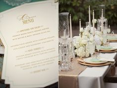 Mint, Gold and Deco Menu featured on Ruffled. Paper Design by Be True Designs, Photography by @Julie Roberts, Styling by @Shanna Jestice