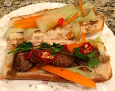 Banh Mi Meatball Sub with Pork Meatballs, Pickled Vegetables, Fresno Pepper & Fresh Cilantro
