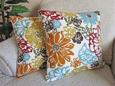 Robins Egg Blue Red Orange Floral Decorative Throw Pillow ~ Cover Couch Cushion by asmushomeinteriors, $41.95