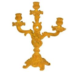Yellow Flocked Candelabra | Home Decor | England At Home Quirky Decor, Unique Home Decor, Candelabra, Candlesticks, Dinner Table, A Table, England Houses, Modern Bohemian, Flocking