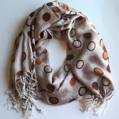 """2/$25100% OVERSIZED DOTTED PASHMINA SCARF Beautiful soft 100% Pashmina scarf. Colors vary from black to orange, powder blue and white.  Fringe is cream.  Wear this scarf with your favorite outfit or coat. 6' x 4' 4"""". Or drape this on your shoulders at your favorite play or dinner. ⚫️NO TRADE. NO PAYPAL⚫️ NO ADDITIONAL DISCOUNTS APPLY. Accessories Scarves & Wraps"""