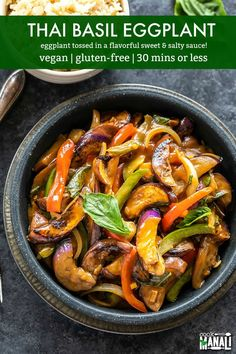 Vegan and gluten-free Thai Basil Eggplant is one of my favorite ways to enjoy eggplant! Pair it with rice or noodles for a delicious meal! Thai Eggplant, Eggplant Dishes, Eggplant Recipes, Thai Basil Eggplant Recipe, Vegan Eggplant, Dairy Free Recipes, Vegetarian Recipes, Cooking Recipes, Vegetarian