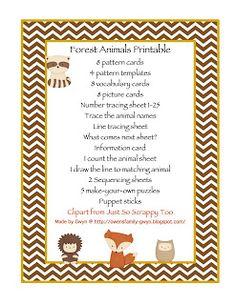 Preschool Printables: Forest Animals Printable
