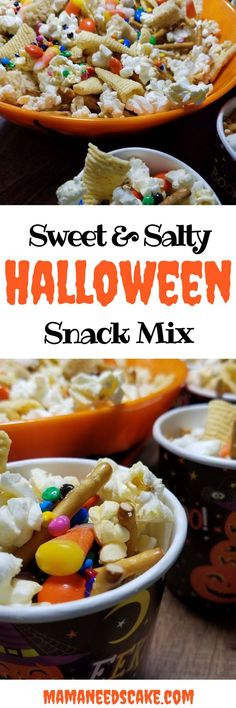 Sweet & Salty Halloween Snack Mix Every year my daughter has a Halloween party at school and every year I volunteer to bring either cookies or cupcakes. #halloween #sweet #salty #snacktime #classsnack #snack #trickortreat #candycorn #fall #treat #treatbags