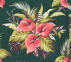 Vintage Coral & Green Tropical Anthurium Palm Barkcloth