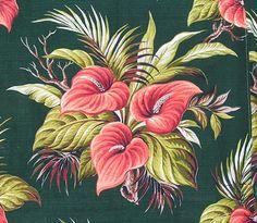 Vintage Coral & Green Tropical Anthurium Palm Barkcloth