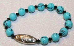 Light Blue and Black Crystal Bracelet by SageBeauties on Etsy, $10.00