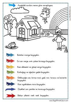 OKUDUĞUNU ANLAMA – Oku – Boya Çalışması 4 Okuma anlama metinleri Özgün bir çalışma olarak pdf formatında hazırlanmıştır. Sitede bulunan çalışmaları özgün içerik olarak hazırlıyoruz... Primary School, Pre School, Learn Turkish, English Games, Turkish Language, Following Directions, First Grade, Special Education, Kids And Parenting