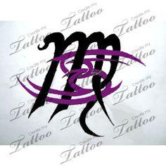 Zodiac sign combination tattoo | Cancer and Virgo meet #44061 | CreateMyTattoo.com
