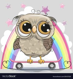 Illustration about Cute Cartoon Owl with skateboard on a rainbow background. Illustration of smiling, cheerful, purple - 111115249 Owl Cartoon, Cute Cartoon, Bird Drawings, Easy Drawings, Cute Images, Cute Pictures, Snail Art, Alphabet Pictures, Owl Illustration