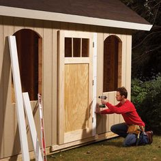 How to Build a Shed on the Cheap (DIY) | Family Handyman Cheap Storage Sheds, Cheap Sheds, Storage Shed Plans, Carport Plans, Wood Shed Plans, Diy Shed Plans, Walk In Chicken Coop, Walk In Greenhouse, Free Shed