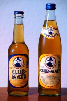 Club Mate from Germany. A carbonated drink made from Yerba Mate extract. It has recently become popular in the hacker scene due to its high caffeine content.