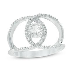 5.0mm Lab-Created White Sapphire and Diamond Accent Orbit Ring in Sterling Silver  - Peoples Jewellers