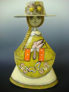 "Old vintage Mexican folk art papier paper mache doll 15 3/4"" tall signed SERMEL"