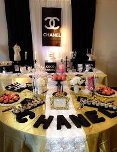Chanel birthday party dessert table! See more party planning ideas at CatchMyParty.com!
