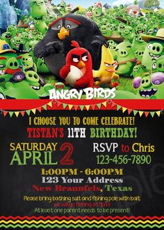 Angry birds birthday invitation free printable angry birds angry birds invitation 4x6 5x7 pronofoot35fo Image collections