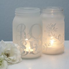 frost spray paint - buy vinyl names/monograms from www.PalmettoPrep.com, place on glass, spray frosted paint, remove vinyl!!