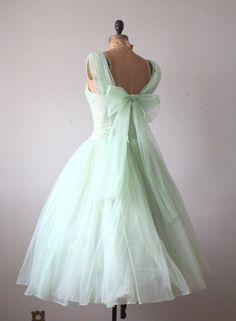 1950s dress mint green princess dress by Thrush