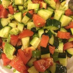 Recipe: Love Gratitude Shukr Cucumbers Tomatoes Watermelon Avocado Blueberries Extra Virgin Olive Oil Apple Cider Vinegar or Fresh Lemon Juice or Fresh Lime Juice A dash of Pink Himilayan Sea Salt Herbs and Spices (my faves are cayenne ginger oregano cilantro)