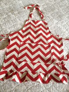 Children's apron - red and natural chevron