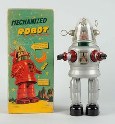 Japanese Tin Litho Silver Mechanized Robby Robot.