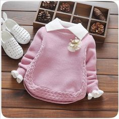 Baby Girl Winter Sweater Collar Children Clothing Baby Knit Sweater Spring Autumn Girls Sweater Kids Cloth Infant Girls Clothes