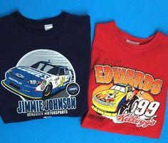 2 Kids NASCAR Shirts - Boy Medium Youth -Jimmie Johnson 48 - Carl Edwards 99 Kelloggs