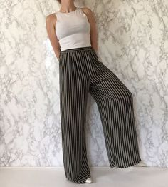 1980s striped sheer pants / wide leg palazzo by minminvintage
