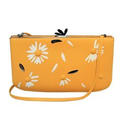 Hermes Vintage Yellow Leather Floral Pattern Handbag | From a collection of rare vintage shoulder bags at https://www.1stdibs.com/fashion/handbags-purses-bags/shoulder-bags/