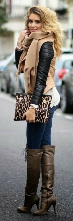 Adorable long boots, big scarf, leopard bag and tight blue jeans for ladies winter wear
