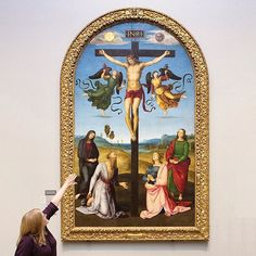Happy Easter from all of us at the National Gallery! We're open today (and tomorrow over the bank holiday), so if you are in London, why not pay us a visit for free and discover the story of Easter through the paintings in our collection?  Here you can see 'The Mond Crucifixion' painted by Raphael. One of Raphael's earliest works, this served as the altarpiece of the side chapel in S. Domenico in Città di Castello. As is usual, the Virgin and Saint John the Evangelist stand on either side of…