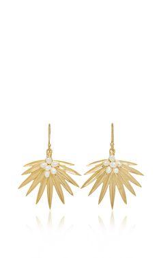 Small Fan Palm Earrings by Annette Ferdinandsen for Preorder on Moda Operandi