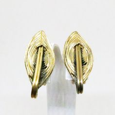 Pewter with Gold Wash Earrings - Vintage, Tortolani Signed, Clip-on Earrings by MyDellaWear on Etsy $22