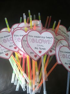 Super cute valentine for kids! You make my heart glow. I just saw a pack of 20 glow sticks at the Dollar Tree for $1.