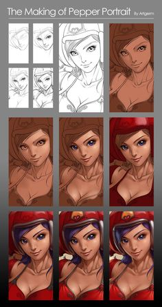 Pepper Portrait - Process by `Artgerm on deviantART ✤    CHARACTER DESIGN REFERENCES   キャラクターデザイン   çizgi film • Find more at https://www.facebook.com/CharacterDesignReferences http://www.pinterest.com/characterdesigh if you're looking for: #color #theory #contrast #animation #how #to #draw #paint #drawing #tutorial #lesson #balance #sketch #colors #painting #process #line #art #comics #tips #cartoon    ✤