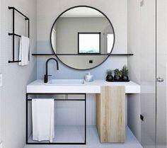Home Interior Layout Mirror With Shelf Q.Home Interior Layout Mirror With Shelf Q Modern Bathroom Design, Bathroom Interior Design, Minimal Bathroom, Modern Mirror Design, Toilet And Bathroom Design, Bathroom Designs, Modern Design, Bathroom Mirror Inspiration, Mirror Ideas