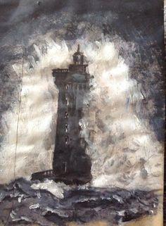Lighthouse original artwork in Acrylic and biro by David Reid