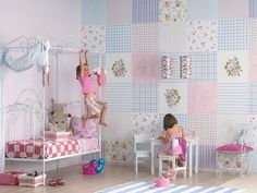 Pared con papel patchwork