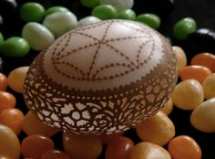 Hand Carved & Etched Victorian Lace Chicken Egg  Beth Ann Magnuson