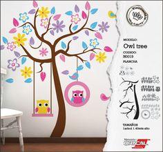 Vinilo decorativo Arbol con lechuzas! Wall decal Owl Tree Kids!