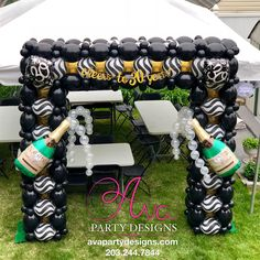 Outdoor Black, White and Gold Square Quicklinks Balloon Arch with personalized Champagne Bottle. 30th Birthday Balloons, Birthday Balloon Decorations, 50th Birthday Party, Balloon Arch Frame, Balloon Bouquet Delivery, Champagne Balloons, Happy New Years Eve, Custom Balloons, Milestone Birthdays