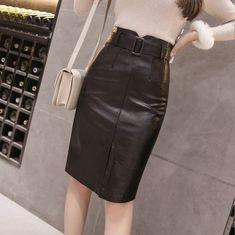 New black faux leather high waist front slit midi knee length women pencil skirt - Skirts Midi Length Skirts, Black Faux Leather, High Waist, Leather Skirt, Pencil, Women, Fashion, Moda, Leather Skirts