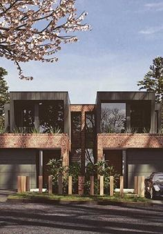 Luxury dual occupancy & townhouse ideas by Arkhaus. Arkhaus are experienced in dual occupancy & custom high end projects for all residential purposes. Row House Design, Duplex House Design, Facade Design, Architecture Design, Modern House Facades, Modern Townhouse, Model House Plan, Facade House, Industrial House